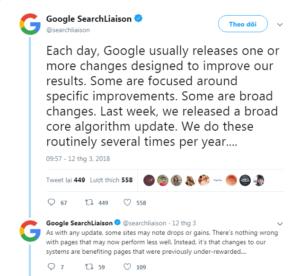 update thuat toan google